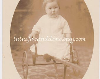 Vintage Real Photo Postcard - Chubby Cheeked Toddler Seated on Cart - 1910s