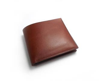 Minimalist Leather Wallet, Cognac Leather Wallet, Canadian Made, brown Wallet, Christmas Gift for Men, Leather Billfold, Bifold Brown