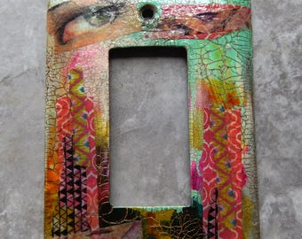 Glamour Eye of Protection, mixed media rocker switch plate cover, multi colored, blue green, pink, one of a kind