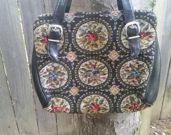 Tapestry Handbag Carpet Bag Tapestry Purse Floral Tapestry Handbag 1960s Tapestry Purse 1960s Tapestry Handbag Mod Tapestry Handbag 1960s