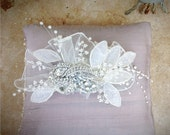 RESERVED for LINDSEY ONLY. Ivory / White Vintage Heirloom Tulle & Rhinestones Fascinator Hair Comb. Stylish Wedding Bridal Bride Couture