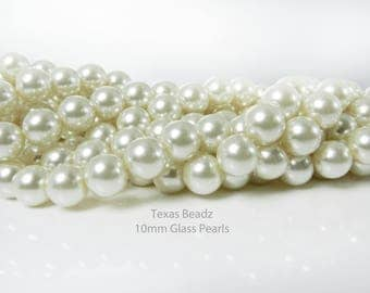 10mm Ivory Pearls Off White Glass Pearl Beads Round Cream Beads
