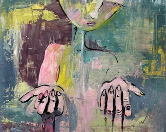 Sacrificial Love Painting abstract modern art figurative giving hands colorful print