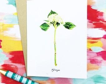 Hydrangea Greeting Card, watercolor card