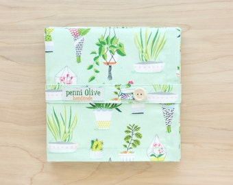 Plant Themed Cloth Napkins in Mint Green