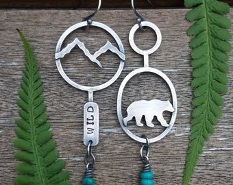 bear mountain sterling silver turquoise earrings - bear earrings - woodland jewelry - turquoise earrings - mountain earrings