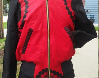 African Wax Block Cotton Reversible Unisex Bomber Jacket made from GTP fabric from Ghana
