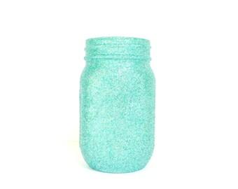Teal Green and Silver Blend Glittered Pint Mason Jar, Flower Vase, Wedding Decoration, Makeup Brush Holder, Pen and Pencil Holder