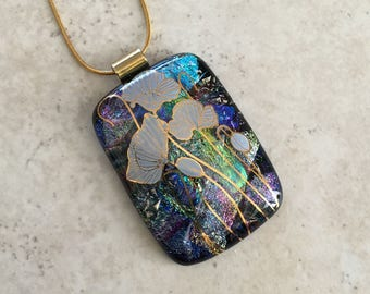 Dichroic Jewelry - Poppy Flowers - Dichroic Fused Glass Jewelry - Fused Dichroic Glass Pendant & Necklace - 114-14