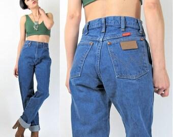 Vintage Wrangler Jeans Womens 80s 90s High Waist Jeans Soft Medium Wash Denim Cowboy Straight Leg Jeans Faded Boyfriend Jeans (S/M) E7010