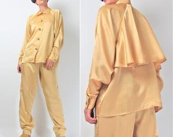 80s 90s Silk Blouse Two Piece Outfit Set Mustard Yellow Silk Shirt Draped Top High Waist Pants Jumpsuit Trousers Matching Set (S/M) E101059