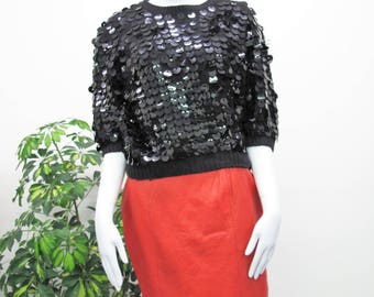 Vintage 80s Sequin Sweater Disco Sequined Sweater Black Sequin Sweater Cropped Fit Slouchy Fancy Party Jumper Womens Short Sleeve Size S/M