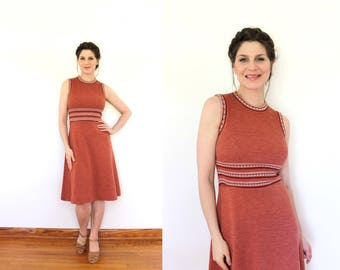 70s Dress / 1970s Dress / 1970s Sleeveless Brick Red Knit Dress