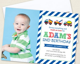 Trucks Birthday Party Invitations with Photo - Professionally printed *or* DIY printable