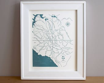 Mount Tamalpais, California Letterpress Printed Mini Map