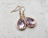 Pink Crystal Earrings, Pastel Pink Rhinestone Teardrops, Faux Diamond Style Jewels, Estate Style Jewelry, Gold Drops