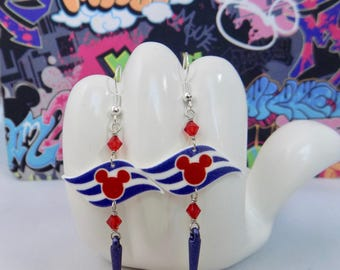 Disney Cruise Line Flag Blue Dangle Earrings
