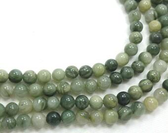 6mm Round Seaweed Quartz Semi Precious Stone Beads, Full Strand