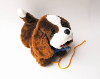 1970s Puppy Dog Pull Toy Vintage Talking Yipping Bark Pup Moving Mouth Head WORKS Floppy Ears Wagging Tail Wheels Retro Stuffed Animal Plush