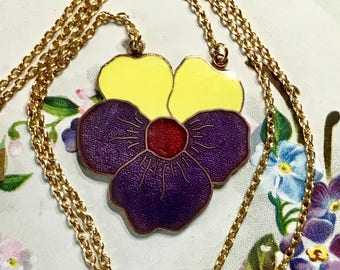 "Vintage pansy necklace,Sarah Coventry Necklace,Enamel Pansy,Signed Necklace, Artsy Necklace, 17"" long,Flower Necklace, G54"