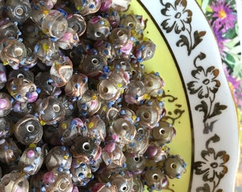 Vintage Wedding Cake Beads, Glass Beads, Art glass, NOS Lot 7mm, Flower beads, Pink Venetian Roses Colorful #B70F
