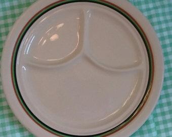Vintage Shenango Inca Ware Divided Dinner Plate, Striped Border, Retro Restaurant Ware