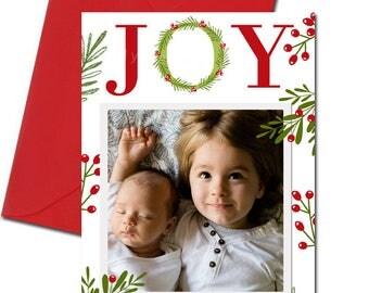 Christmas Card, Joy Christmas Card, Christmas Photo Card, Wreath Christmas Card, Holiday Card, Floral, digital Christmas Card, Holiday Card