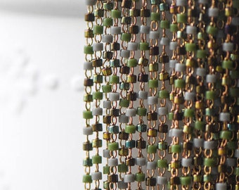 TOHO Seed Glass Bead Chain 1.8mm, Unplated Brass Beaded Tiny Chain, Multi Colors Mix  (#RB-052-2)/ 1 Meter=3.3ft