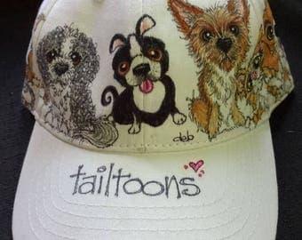 Custom pet Caricature on Cap