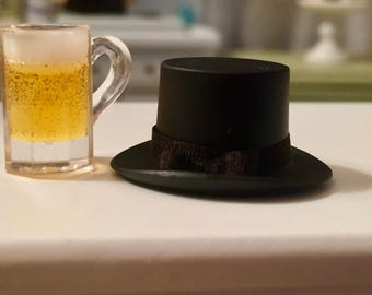 Miniature Black Top Hat, Dollhouse Miniature, Mini Hat with Band, Dollhouse Decor, Accessory
