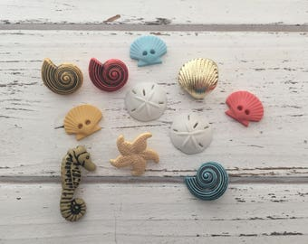 """Beach Buttons, Packaged Novelty Buttons, """"Beach Treasures"""" by Buttons Galore Style 4246, Sewing, Crafting, Embellishments"""
