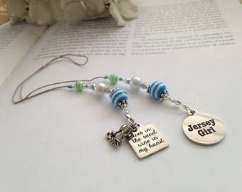 Beaded Bookmark Girlfriend Gift-New Jersey Girl Charm Silver Happy Hour Sand Wine Lover Beach Summer Shore Book Thong Reading Lover NJ State