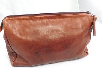 Vintage Cognac Brown Travel Makeup Bag