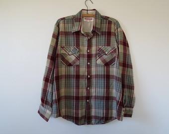 1970s Vintage Men's Plaid Shirt - Burgundy Gray Button Down by McGregor - Size L Chest 48