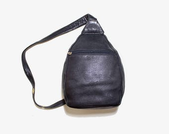 Vintage Leather Backpack / Black Leather Backpack / Leather Knapsack / Sling Backpack
