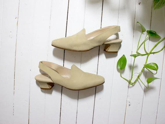 Vintage Slingback Mules 7 / Creme Nubuck Mules / Slingback Heels / Minimal Shoes / Creme Leather Mules