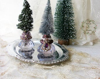 Antique Rustic Farmhouse Bottle Brush  Holiday Trees.  Shabby Victorian Christmas Ornaments. Antique Glass Door knobs Holiday trees