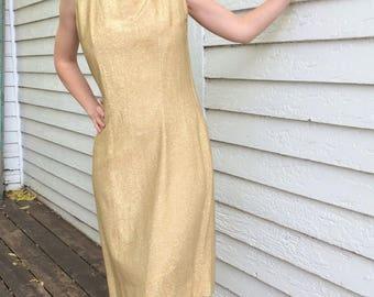 Vintage 60s Gold Evening Dress Metallic Panel Back S