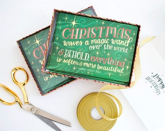 Christmas Cards Boxed Set, 15 Gold Foil Xmas Cards, Green Hand Lettered Traditional Holiday Greeting Card Set, Watercolor Holiday Card Pack