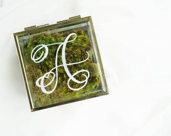 Glass and Gold Jewelry Hinged Trinket Box with Personalized Calligraphy Hand Drawn White Initial Monogram - Gift for Her