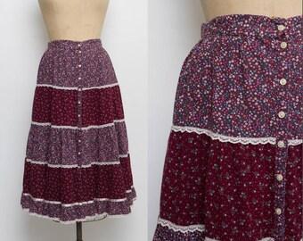 vintage 70s Gunne Sax midi skirt floral print bordeaux color