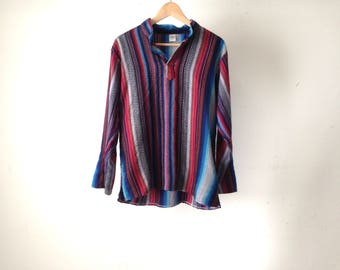 vintage GURU striped long sleeve half button UNIQUE shirt