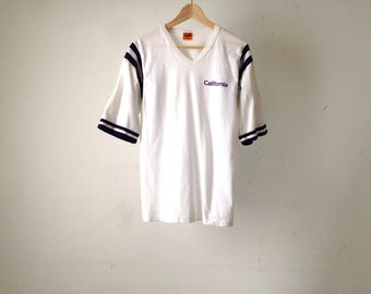vintage CALIFORNIA white & purple 80s ringer jersey style t-shirt top