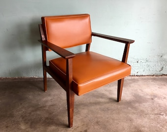 MID CENTURY MODERN Wood Armchair with Orange Vinyl Seat and Back (Los Angeles)