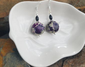 Purple Paint Splatter Ball Earrings, Ball Splatter Paint Sterling Silver Earrings, Purple Splatter Silver Earrings, Splatter Paint Earrings