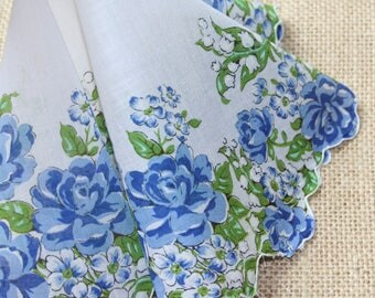 Vintage Floral Hankie Blue Roses Lily of the Valley Round Hankie Wedding