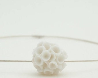 Cluster white porcelain flowers and sterling silver necklace Khao-Lak, porcelain necklace, ceramic jewelry, porcelain jewelry