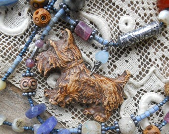 Little Cutie               Vintage Terrier Dog Beaded Long Assemblage Necklace
