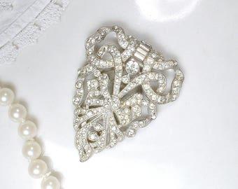 HOLD 1920s 1930s Art Deco Rhinestone Fur/Dress Clip Bridal Bouquet Jewelry, Bridal Brooch