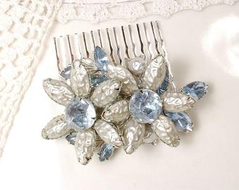 OOAK Dusty Powder Blue Brooch OR Hair Comb, Ivory Baroque Pearl, Rhinestone Wedding Dress Sash Accessory/Bridal Headpiece Something Blue Old